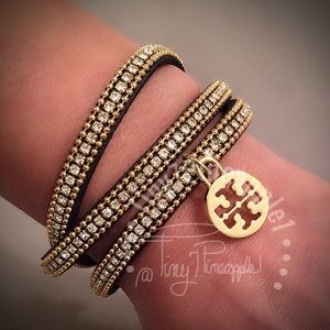 🌿🌹🌿 TORY BURCH CHARM w/ LEATHER WRAP BRACELET